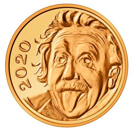 This undadted image provided by Swissmint shows a gold coin with the face of Albert Einstein on the image side. State-owned S