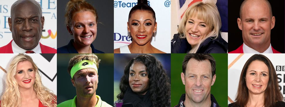 Head In The Game interviewees: (top, left to right) Frank Bruno, Jordanne Whiley, Becky Downie, Elise Christie, Andrew Strauss; (bottom, left to right) Rebecca Adlington, Liam Broady, Eniola Aluko, Marcus Trescothick, Jo Pavey.