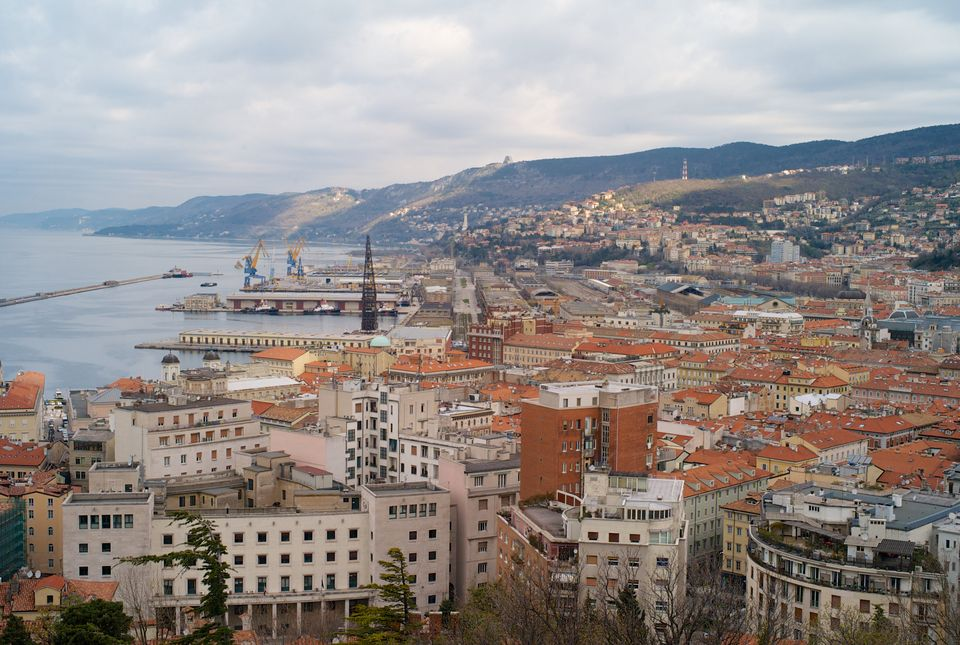 The city center and old town of Trieste from above with the old port in the