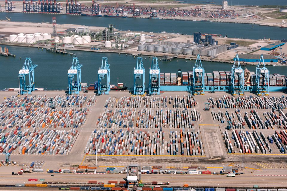 Rotterdam, The Netherlands - May 25, 2012:Aerial view of the APM container terminal in rotterdam, Netherlands...