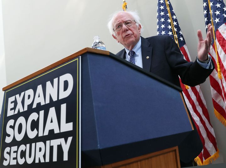 Sen. Bernie Sanders (I-Vt.) introduces a bill to expand Social Security on Capitol Hill in February.