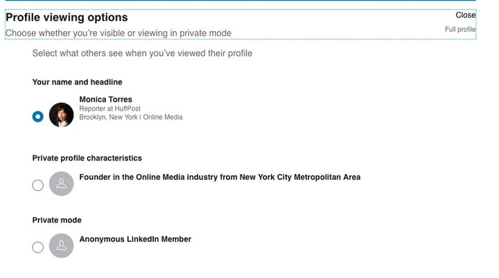 You can choose how you show up in LinkedIn members' profile views.