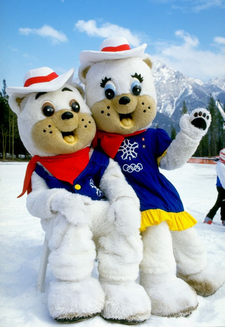 """Portrait of 1988 Winter Olympic Games mascots """"Hidy"""" and """"Howdy"""" during the World Cup in Calgary."""