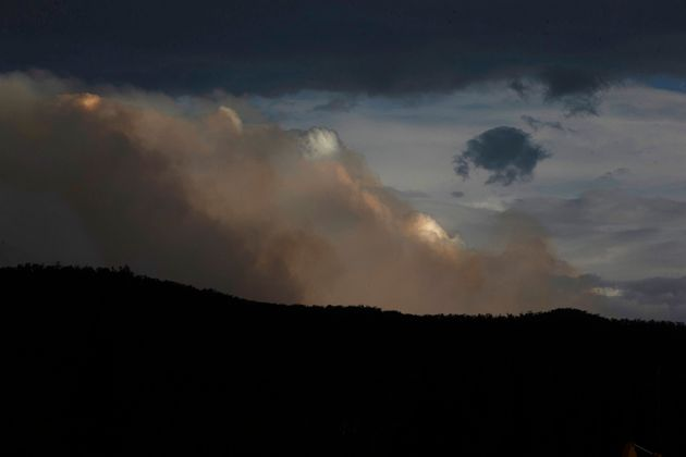 Smoke is seen from the Good Good fire on January 23, 2020 in Cooma, Australia. on January 23, 2020 in...