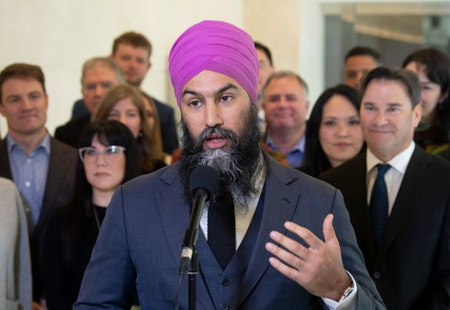 NDP Leader Jagmeet Singh speaks with the media following the second day of caucus meetings in Ottawa...
