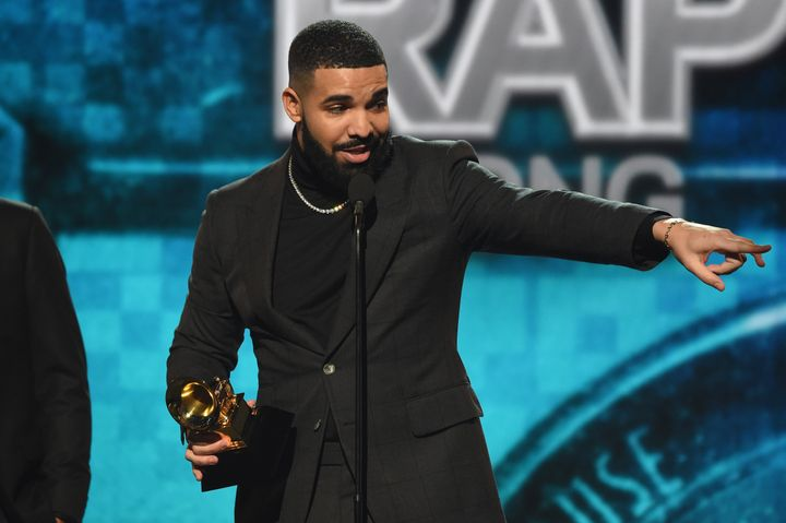 Drake accepting the Grammy for Best Rap Song in 2019. He went on to say that awards don't really matter.