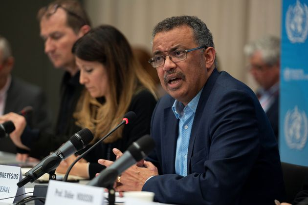 Director general of WHO, Dr Tedros Adhanom Ghebreyesus, speaks during a news conference following the...