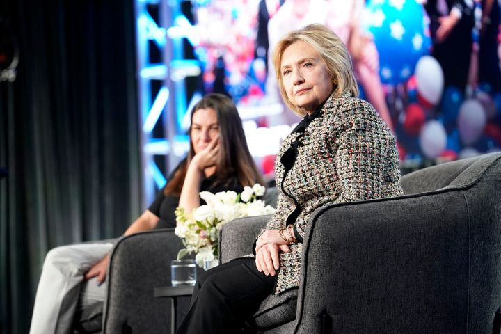 Hillary Rodham Clinton onstage during the Hulu Panel at Winter TCA on Jan. 17 in Pasadena, California.