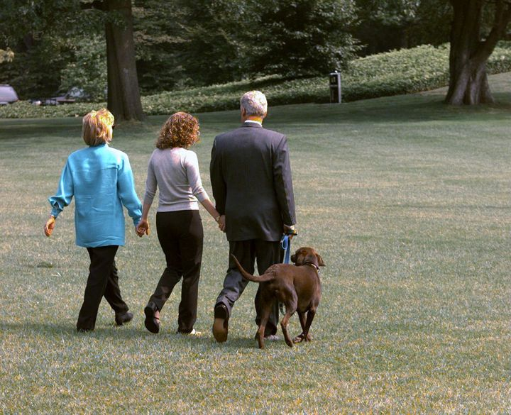 President Bill Clinton leaving the White House for Martha's Vineyard with Hillary Clinton and their daughter Chelsea in Augus
