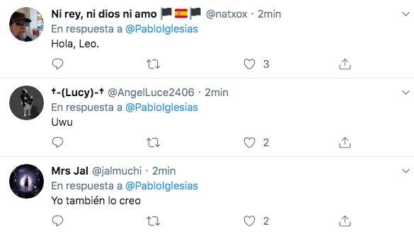 Respuestas al tuit borrado por Pablo