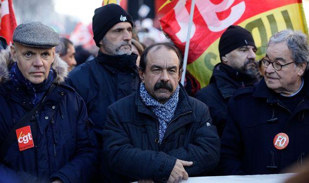 Le leader de la CGT Philippe Martinez à la manifestation contre la réforme des retraites...