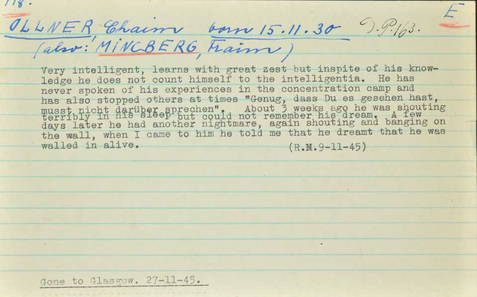 A Windemere record noting Olmer's nightmares and reluctance to talk about his