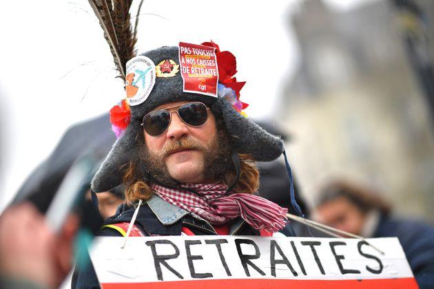Image d'illustration - Un manifestant contre la réforme des retraites, Nantes, le 16 janvier