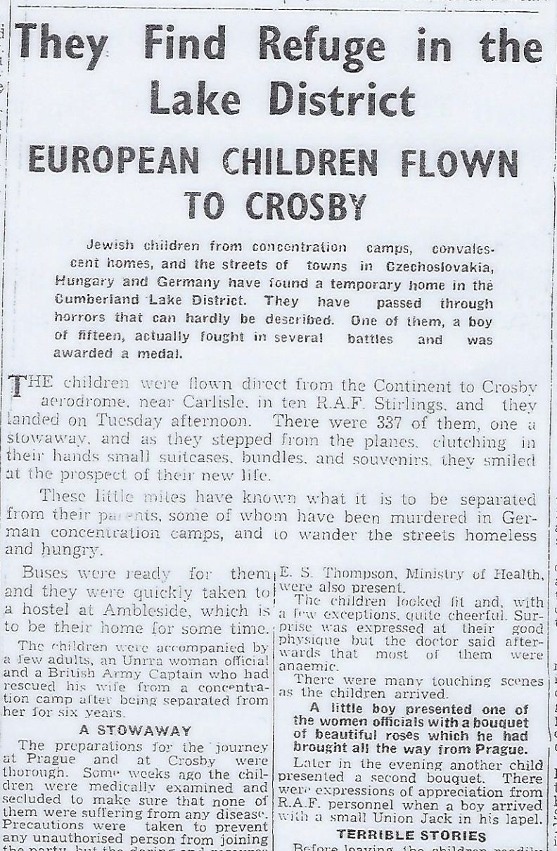 A report detailing the children's arrival in The Carlisle Journal, August 17