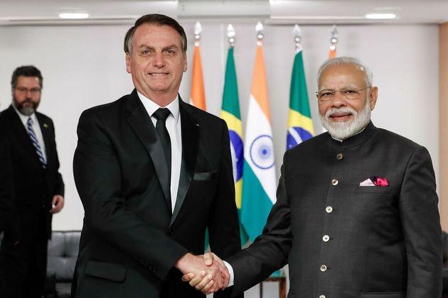 Encontro com o primeiro-Ministro da Índia, Norenda Modi, no Brics, em novembro de 2019, em