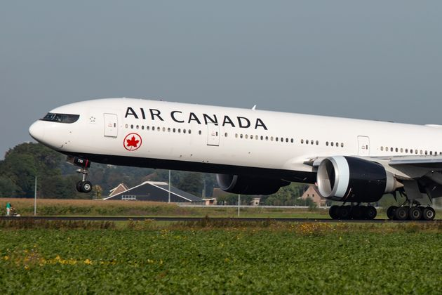 An Air Canada Boeing 777-300 aircraft lands at Amsterdam's international airport in October 2019. The...