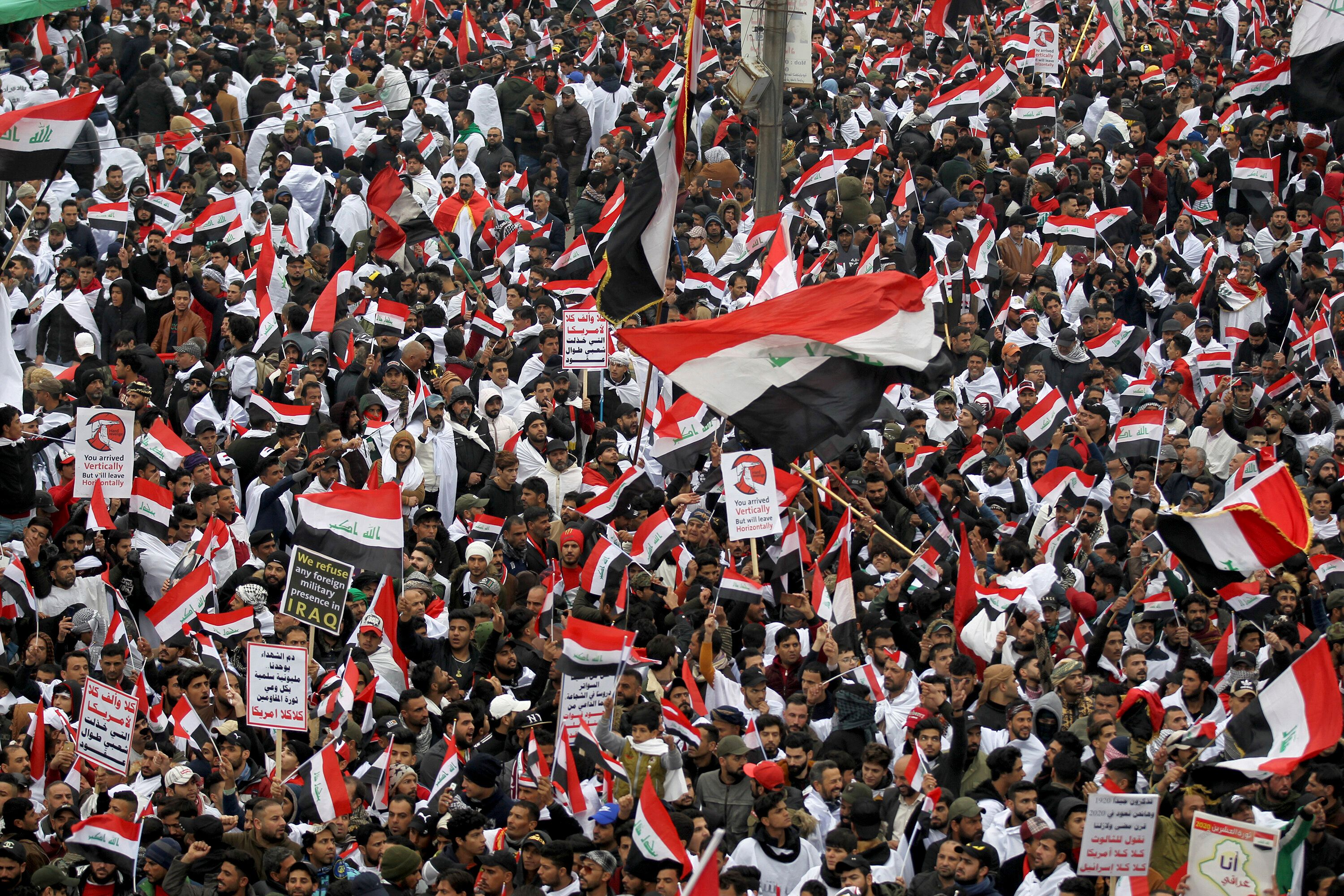 Thousands Rally In Baghdad To Demand U.S. Troops Leave Iraq