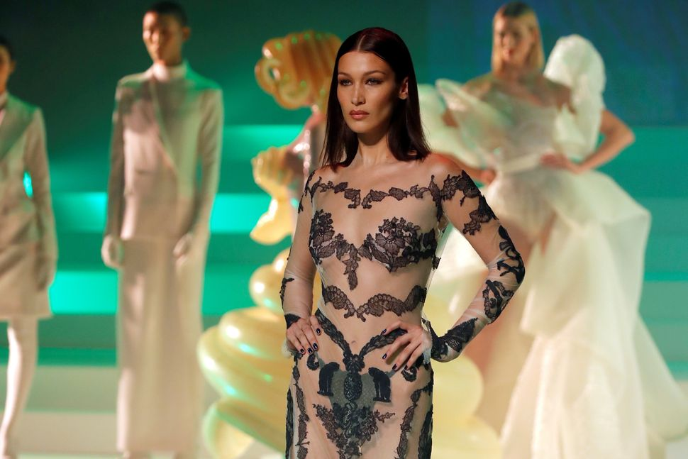 Model Bella Hadid presents a creation by designer Jean Paul Gaultier as part of his Haute Couture Spring/Summer 2020 collection show in Paris, France, January 22, 2020. Picture taken January 22, 2020. REUTERS/Charles Platiau