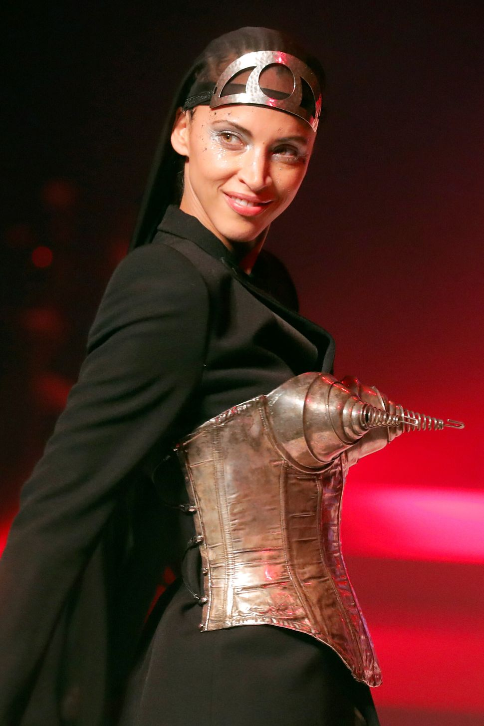 Noemie Lenoir presents a creation by designer Jean Paul Gaultier as part of his Haute Couture Spring/Summer 2020 collection show in Paris, France, January 22, 2020. Picture taken January 22, 2020. REUTERS/Charles Platiau