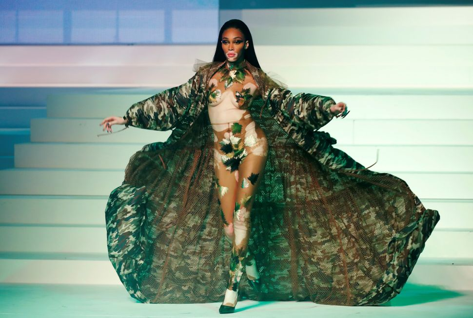 Model Winnie Harlow presents a creation by designer Jean Paul Gaultier as part of his Haute Couture Spring/Summer 2020 collection show in Paris, France, January 22, 2020. REUTERS/Charles Platiau