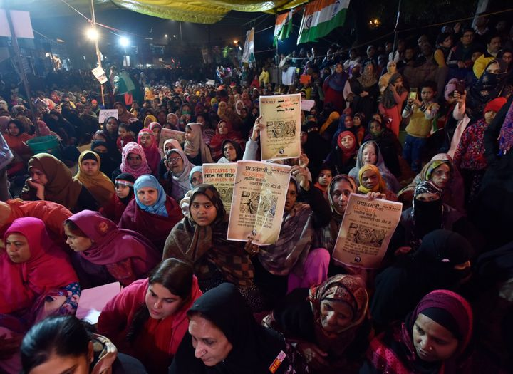 Muslim women protest against CAA, NRC and NPR at Shaheen Bagh, near Kalindi Kunj, on January 18, 2020 in New Delhi, India.&nb