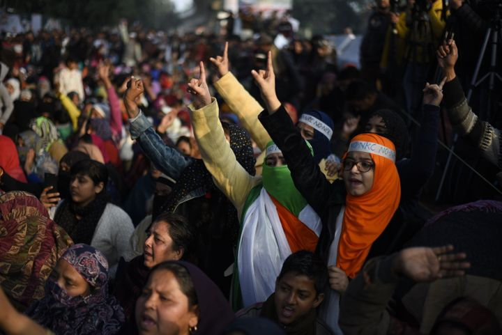 Women shout slogans during a protest at Shaheen Bagh, on January 21, 2020 in New Delhi, India.