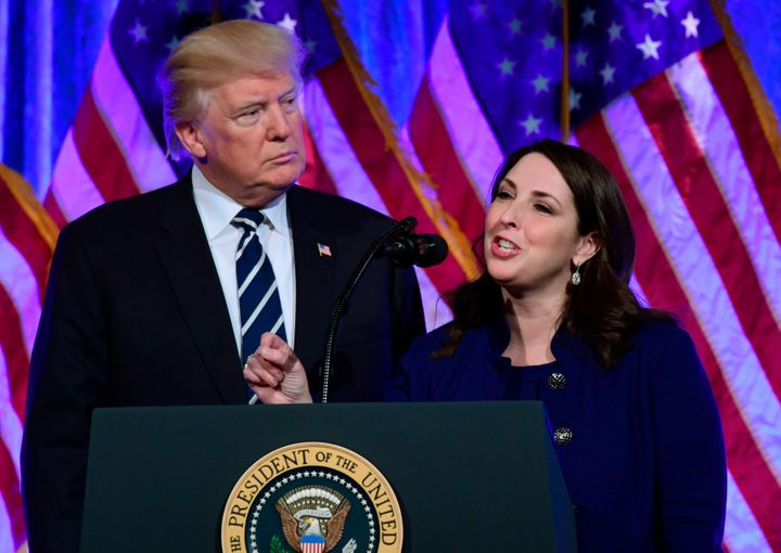In this Dec. 2, 2017, photo, Republican National Committee Chairwoman Ronna Romney McDaniel speaks at a fundraiser with Presi