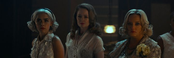 "Kiernan Shipka, Miranda Otto and Lucy Davis in ""Chilling Adventures of Sabrina"""
