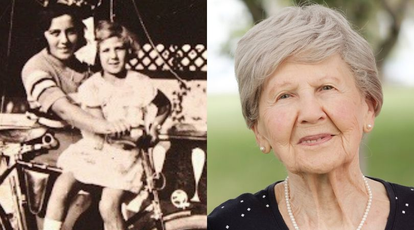 Left: Eva Gelbman with her sister Margit Sapsowtiz (right) in 1916. Right: A recent photo of Eva, now 91 years old.