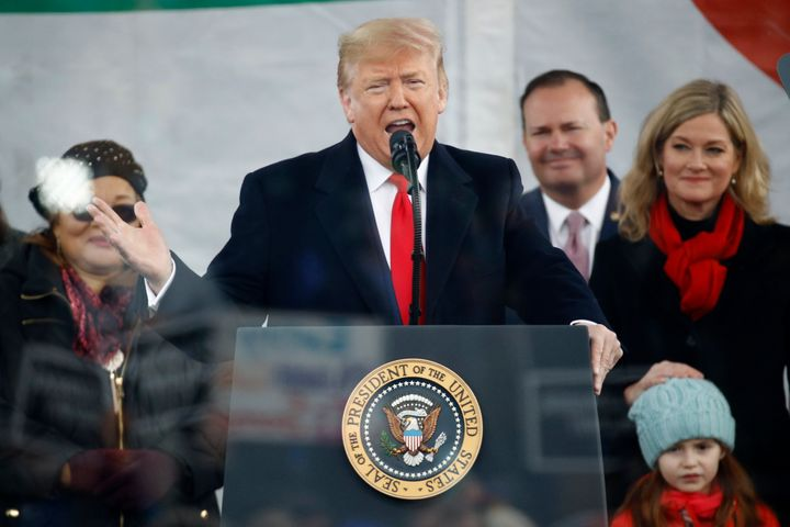 President Donald Trump speaks at a March for Life rally, Friday, Jan. 24, 2020, on the National Mall in Washington, D.C.