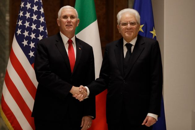 Vice President Mike Pence shakes hands with the President of the Italian Republic Sergio Mattarella,...