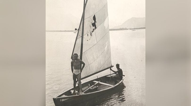 Alex Spilberg, right, sailing in Germany in 1946 or 1947 before moving to