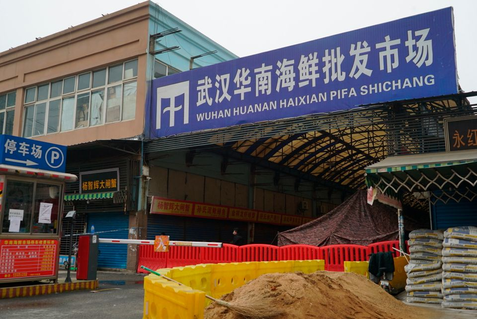 The Wuhan Huanan Wholesale Seafood Market, where a number of people related to the market fell ill with...