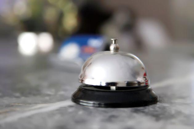 Recepion bell on desk in