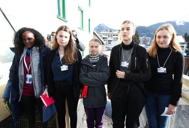Climate change activists Ugandan Vanessa Nakate, Swedish Greta Thunberg, GermanLuisaNeubauer,...