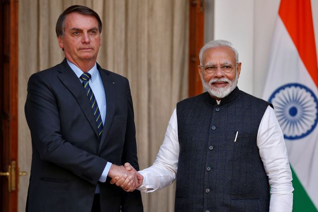 Bolsonaro e Narendra Modi durante reunião em Hyderabad House, em Nova