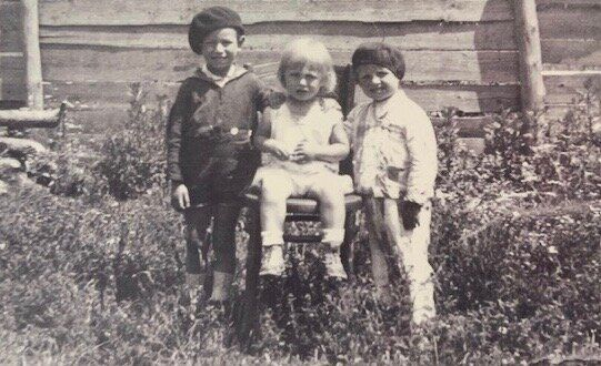 Alex Spilberg, left, with his younger brothers Joseph, centre, and Lazer before the Second World War....