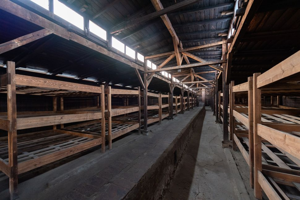 View into a prisoner barrack in the former concentration camp Auschwitz-Birkenau on Dec. 5,