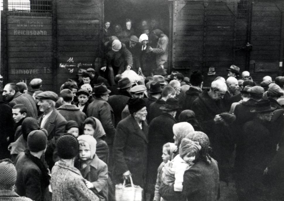 The arrival of Hungarian Jews in Auschwitz-Birkenau, in German-occupied Poland, June 1944. More than...