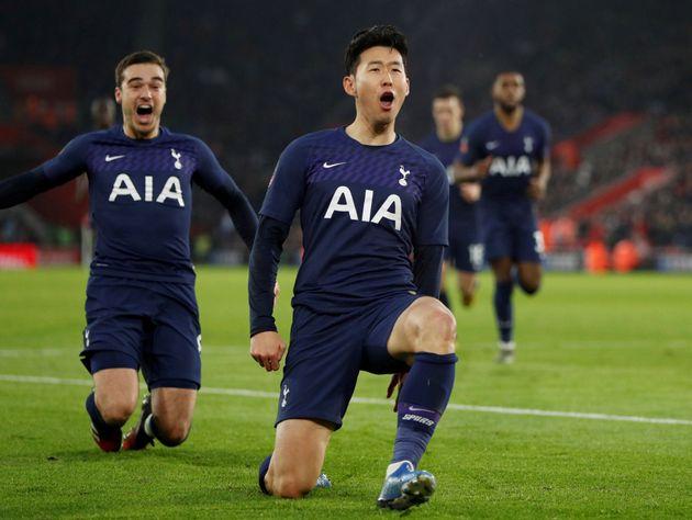 손흥민이 2경기 연속 골 기록한 순간 동료들 반응 (사진,