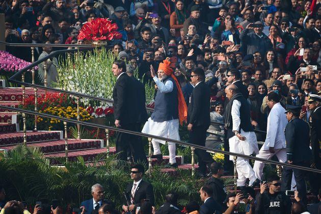 Prime Minister Narendra Modi with President Ram Nath Kovind and Brazil's President Jair Bolsonaro arrive...