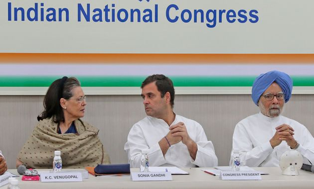 A file photo of Congress President Sonia Gandhi, former party President Rahul Gandhi, center, and former...