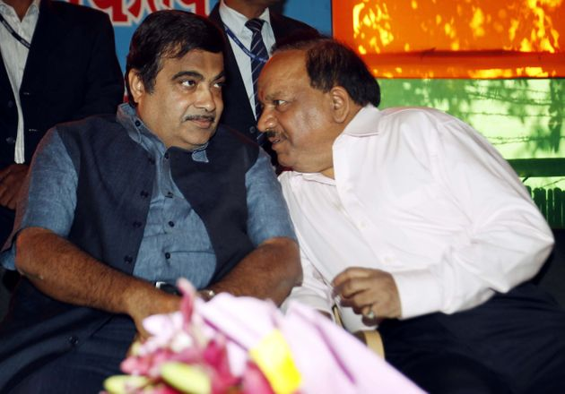 Union cabinet minister Nitin Gadkari (left) with cabinet colleague and senior BJP leader Dr Harshvardhan...