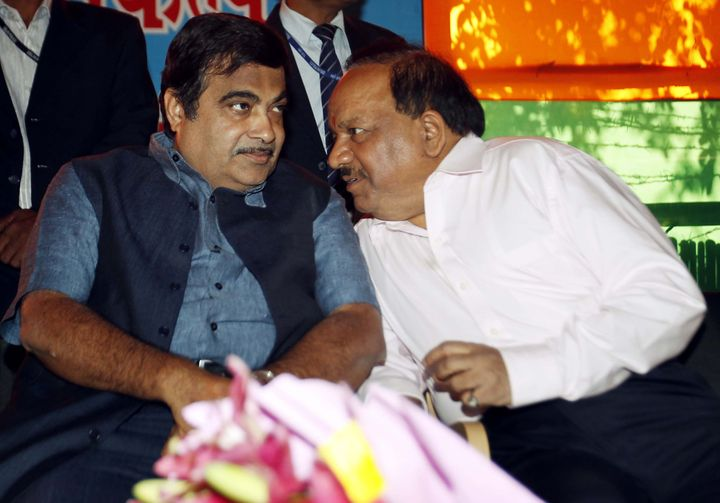 Union cabinet minister Nitin Gadkari (left) with cabinet colleague and senior BJP leader Dr Harshvardhan in a file photo.