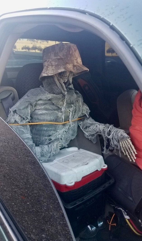 Arizona Man Dresses Toy Skeleton Up As Car Passenger To Avoid Traffic Rules