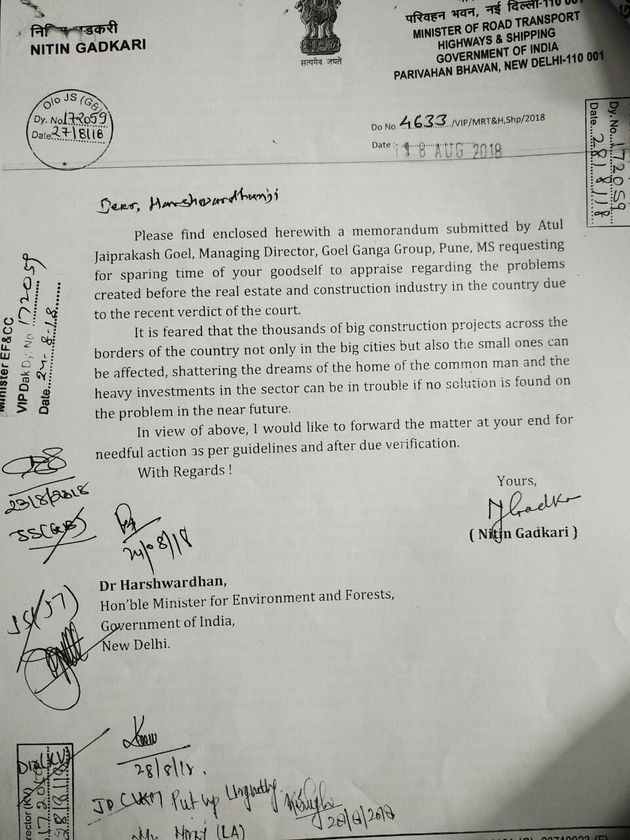 The letter written by Nitin Gadkari, union minister for road transport and highways, to then environment...