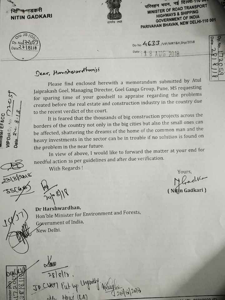 The letter written byNitin Gadkari, union minister for road transport and highways, to then environment minister Dr. Harshvardhan on 18 August 2018.