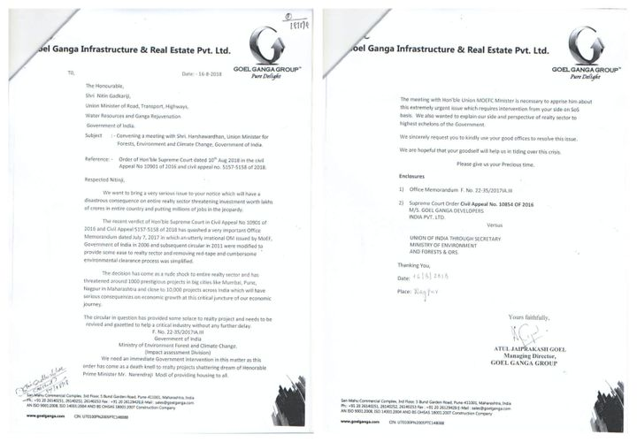 Goel Ganga Group Managing Director Atul Jaiprakash Goel wrote a two-page letter to Gadkari on 16 August 2018,asking the minister to intervene and convene a meeting with Dr. Harshvardhan.