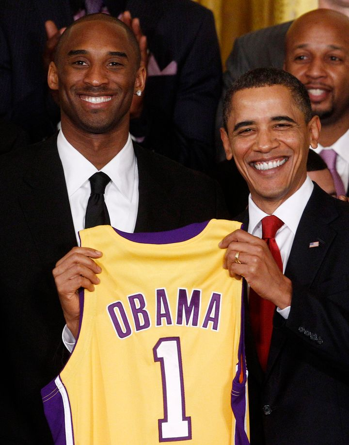 President Barack Obama, right, and Kobe Bryant, left, during a ceremony honoring the 2009 NBA champions, the Los Angeles Lake