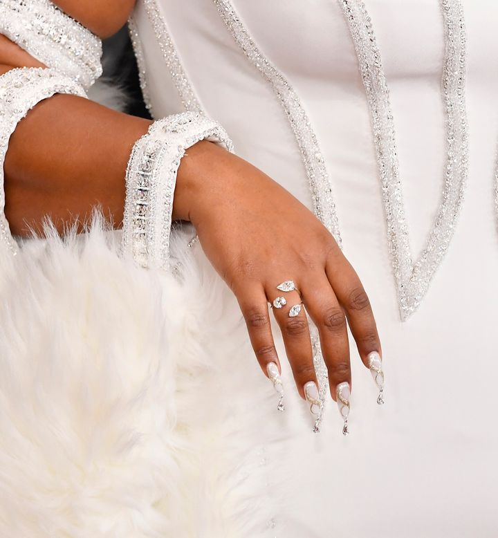 Lizzo's bejeweled nails at the Grammys.